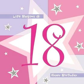 16 Pink Shimmer Girly Happy 18th Birthday Party Napkins By Amscan