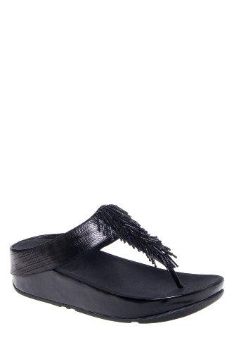 FitFlop Cha Cha Low Wedge Embellished Thong Sandal