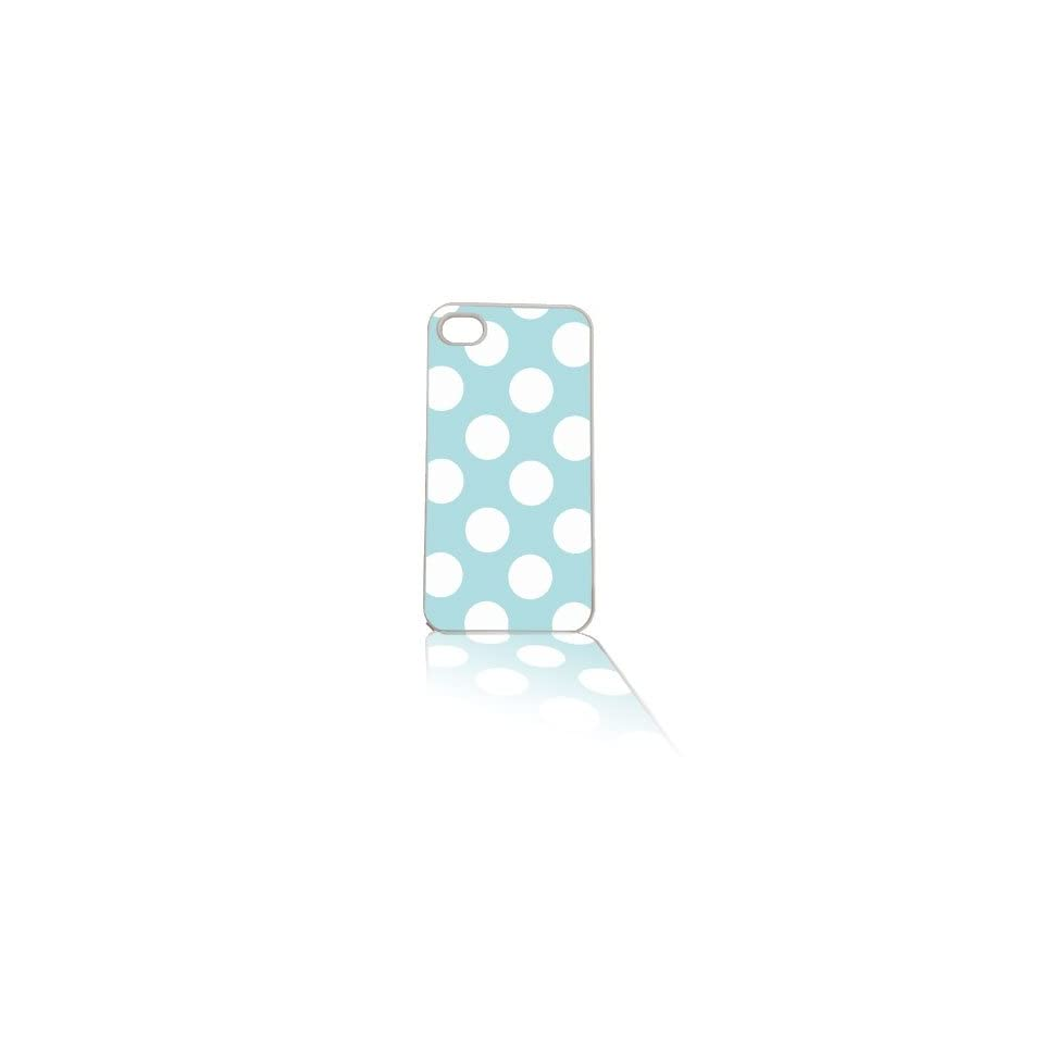 iPhone 4/4s Cell Case White Baby Blue Polka Dot