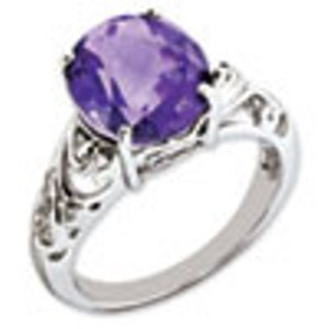 Sterling Silver Genuine Amethyst & Diamond Ring