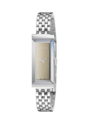 Gucci Women's YA127501 G-Frame Rectangle Steel Bracelet Brown Mirror Dial Watch