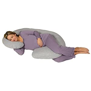 Snoogle Chic Jersey - Snoogle Total Body Pregnancy Pillow with 100% Jersey Cotton Knit Easy on-off Zippered Cover