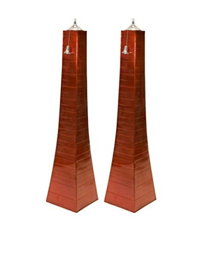 Outdoor Interiors Set of 2 Large Pyramid Oil Torches, Orange