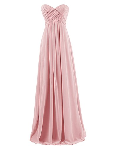Dresstells Sweetheart Bridesmaid Chiffon Prom Dresses Long Evening Gowns Blush Size 12