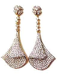 EthniqChiq Gold Plated Cubic Zirconia Studded Dangle  Drop Earring For Women Gold  Cubic Zirconia