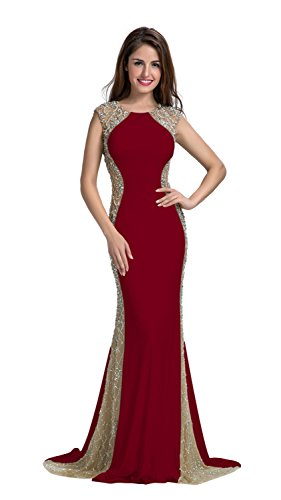 db871be8d515a Chic Belle Women Ity Two Side Beaded Fishtail Evening Dress Prom Gown  2016(8,Red)