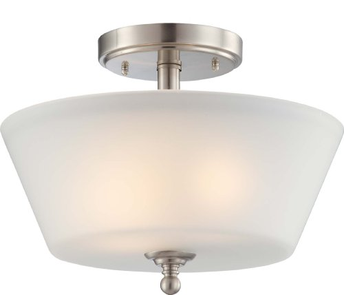 Nuvo Lighting 60/4151 Two Light Surrey Semi-Flush Dome with Frosted Glass, Brushed Nickel (Kitchen Semi Flush Lighting compare prices)