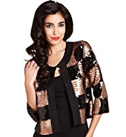 M&S Collection Scoop Neck Sequin Embellished Cardigan