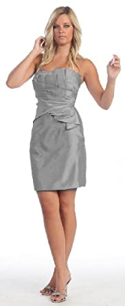Bridesmaid Strapless Taffeta Short Prom Cocktail Dress #788 (12, Charcoal)
