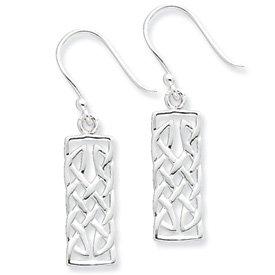 Sterling Silver Polished Rectangular Dangle Earrings