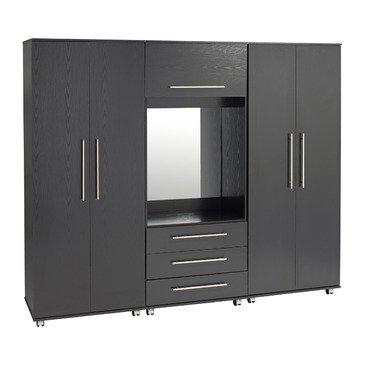 Ideal Furniture 5 Door + 2 Drawers + Mirror Wardrobe, Wood, Beech