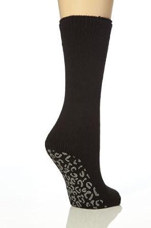 Ladies JA Non Slip Gripper Lounge Bed Socks 4-8 uk,37-42 eur (Black Animal Print)
