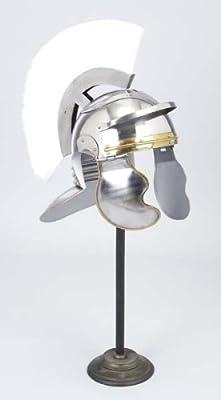 Medieval Roman Trojan Centurion Knight Helmet Armor with White Plume