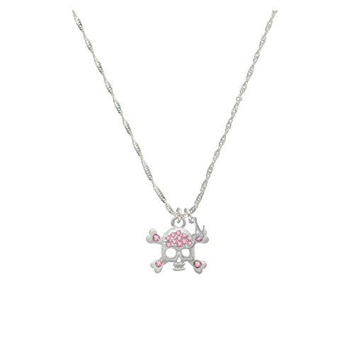 Skull And Crossbones With Pink Crystals Mini Gelato Initial - A - Grace Necklace