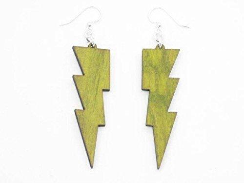 [Lemon Yellow Thunder Lightning Bolts Wooden Earrings Jewelry] (Thunder Lightning Costume)