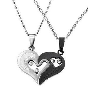 TribalSensation® Cubic Zirconia Stainless Steel Couples Black & Silver Tone