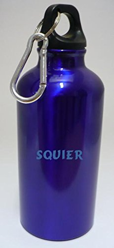 personalised-water-flask-bottle-with-carabiner-with-text-squier-first-name-surname-nickname