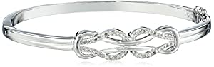 Sterling Silver Diamond Double-Knot Bangle Bracelet (1/4 cttw, I-J Color, I2-I3 Clarity)