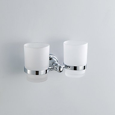 LI Chrome Finish Contemporary Style Wall Mounted Brass Doudle Toothbrush Holder Cup Rack