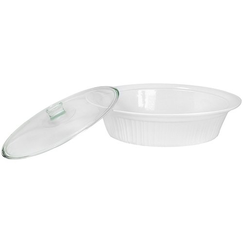 Corningware French White 2 Piece 4-Quart Covered Oval Roaster