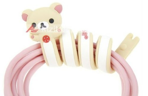 Cute Bear Earphone Cable Cord Silicone Winder/Holder For Iphone - Pink