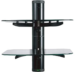 Cheap  Glass Floating Wall Mount 2 Shelves for DVD/Sky
