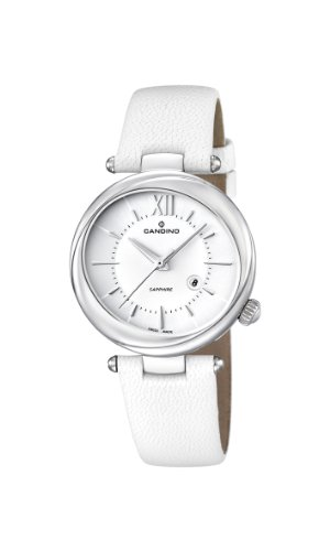 Candino Women's Quartz Watch with White Dial Analogue Display and White Leather Strap C4531/1