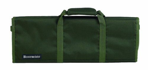Messermeister 12-Pocket Padded Knife Roll, Olive