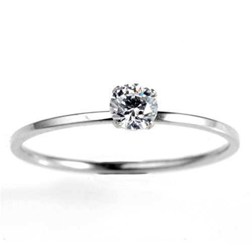 HIJONES Women's Solid Silver Princess Cut CZ Engagement Ring Wedding Band, White 7