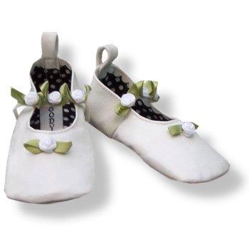 Cheap Infant Girls Leather Slippers  White Rosette Ballerina (B000I9P86O)