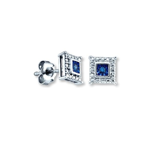 Blue Diamond Stud Earrings Square Shape Rhodium on Sterling Silver