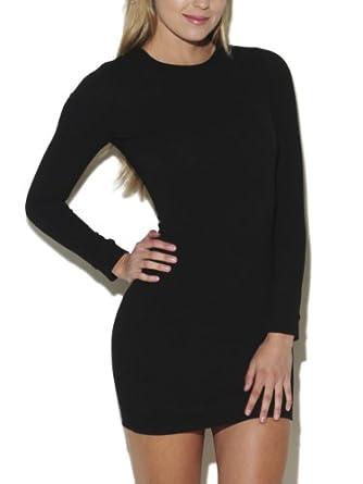 Arden B. Women's High Neck Textured Knit Dress L Black