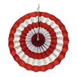 PrettyurParty Red Stripes Paper Fans