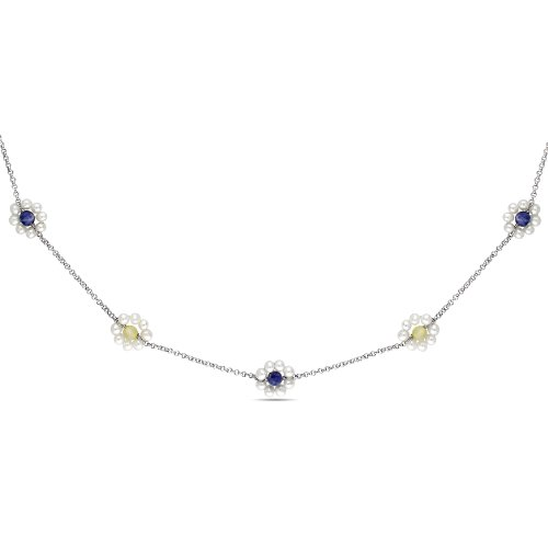 Sterling Silver 3.5 CT TGW Durmortierite and Yellow Agate FW White Pearls Necklace with Chain