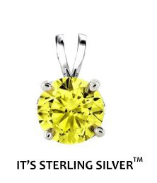925 Sterling Silver Solitaire 1.50 Carat Yellow Cubic Zirconia Pendant. (Basket Setting) 1.50 carat 7 mm Round Top Quality Cubic Zirconia