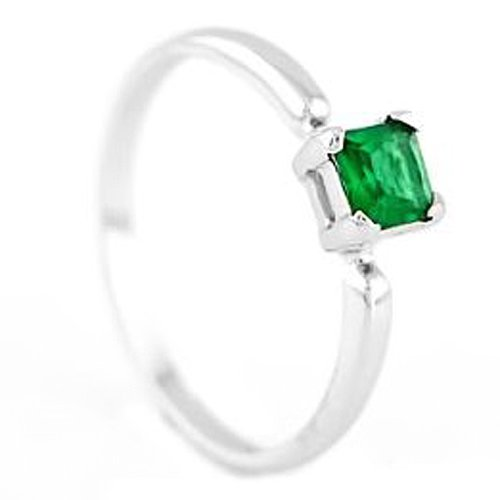 Silver Princess Cut May Emerald Birthstone Child Ring (6)