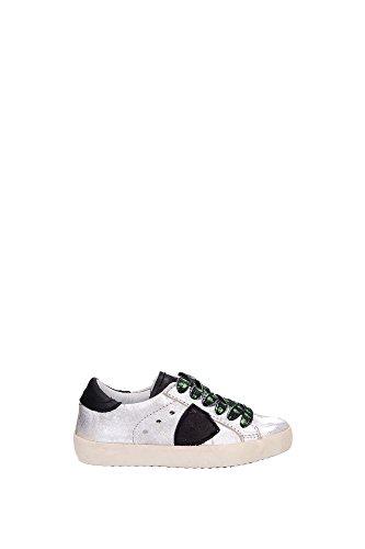 Sneakers Philippe Model Bambino Pelle Argento, Nero e Verde CLL0V05A Argento 24EU