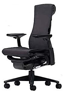 Embody Chair by Herman Miller - Home Office Desk Task Chair with Adjustable Arms - Graphite Frame Rhythm Charcoal Fabric
