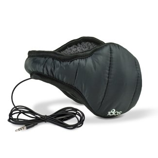 180S Men'S Down Ear Warmer With Headphone, Black, One Size
