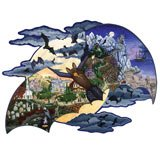 Large Format Glow in the Dark Shaped Jigsaw Puzzle - 300 Pieces - Halloween Night Flight
