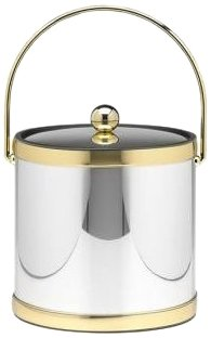 Kraftware Mylar Polished Chrome And Brass 3-Quart Ice Bucket With Brass Bale Handle, Bands And Metal Cover