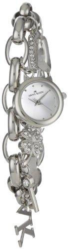 AK Anne Klein Women's  10-7605CHRM Swarovski Crystal Silver-Tone Charm Bracelet Watch