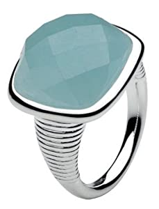 Kit Heath Faceted Blue Jade & Sterling Silver Ring (size: 7)