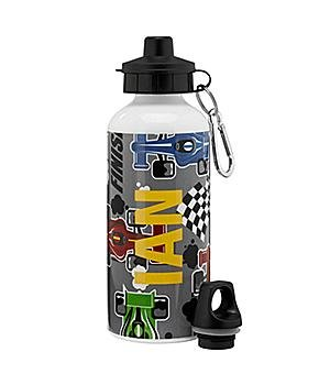 Personalized Playful Print Water Bottle - Racing - Monogram - Back To School Gift