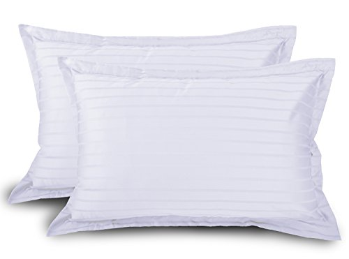 Ahmedabad Cotton Luxurious Sateen Striped Pillow Cover / Case Set (2 Pcs) 300 Thread Count - White  available at amazon for Rs.199
