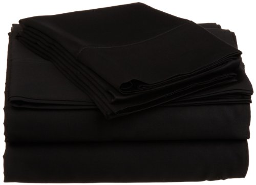 Impressions Genuine Egyptian Cotton 300 Thread Count Queen 4-Piece Sheet Set Solid, Black front-4948