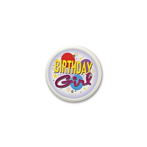 Beistle FB13 Birthday Girl Flashing Button, 2-1/2-Inch