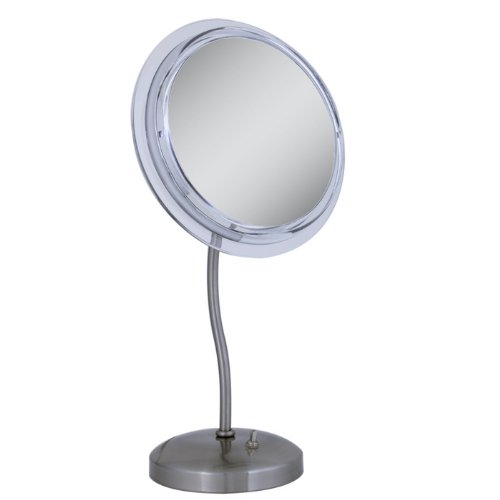 Satin Nickel S-Neck Surround Light 7X Magnified Mirror front-1016690