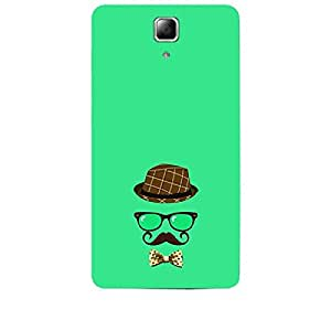 Skin4gadgets Hipster Pattern- Hat, Glasses, Mustache with a Bow Tie, Color - Medium Spring Green Phone Skin for LENOVO A536