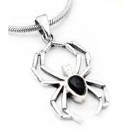 black onyx widow sterling silver spider pendant charm
